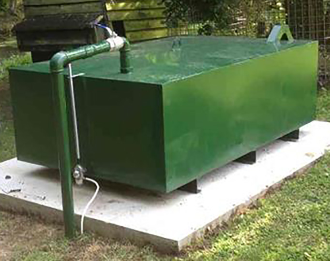 Example of a bunded steel oil tank and pad installed by Suffolk Oil Solutions
